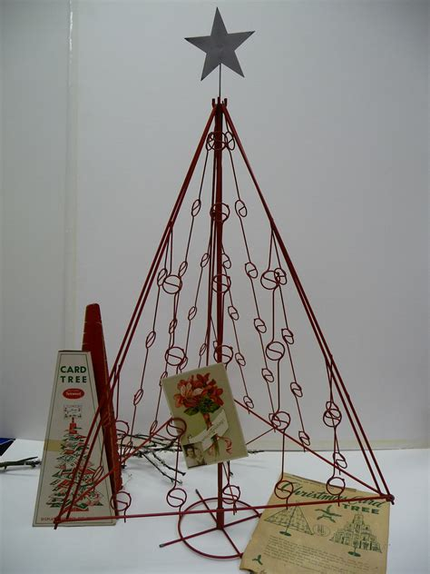 vintage red metal christmas tree card holder 32 inches tall