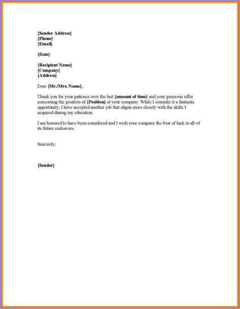 Letter Of Declining A Offer decline offer letter slenotary