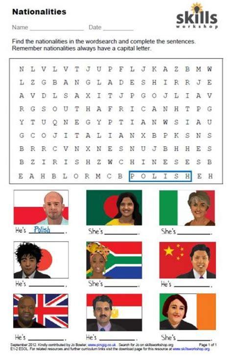 nationalities word search skills workshop