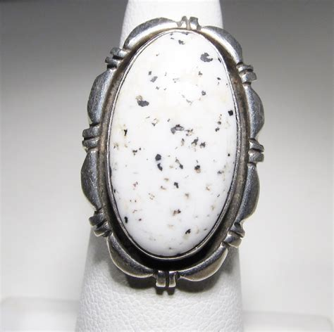 navajo sterling white buffalo turquoise cabochon ring wc