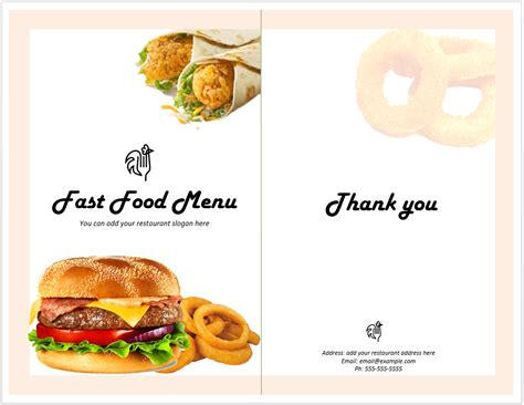 fast food menu template format template