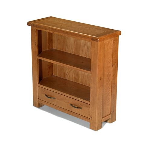 solid oak furniture small low bookcase with drawer