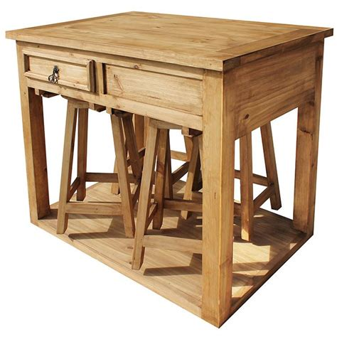 Kitchen Islands And Stools Rustic Pine Collection Kitchen Island W Stools Mes90