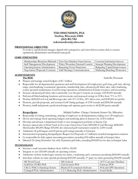 Ted Resume by Ted Osmundson Resume Pga 2015 Linkedin