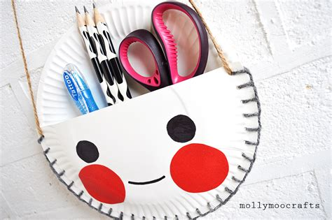Things To Make Out Of Paper Plates - mollymoocrafts paper plate craft the cutest desk tidy