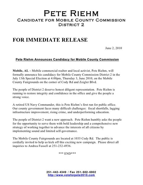 Press Release Invitation Letter Pete Riehm Press Release Mobile County Commission Candidacy Announc