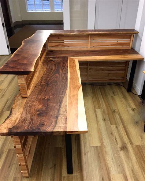 Furniture Thredup Custom Reception Furniture Live Edge Wooden Reception Desk