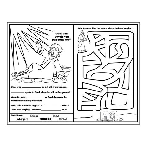 Ananias Helps Saul Activity Sheets Activity Books Saul On The Road To Damascus Coloring Page