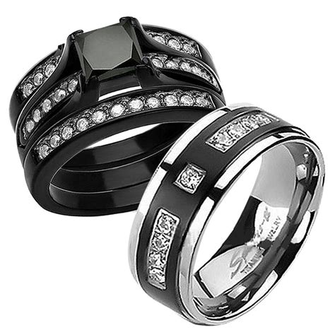 Wedding Bands Black by 15 Best Collection Of Black Titanium Wedding Bands Sets