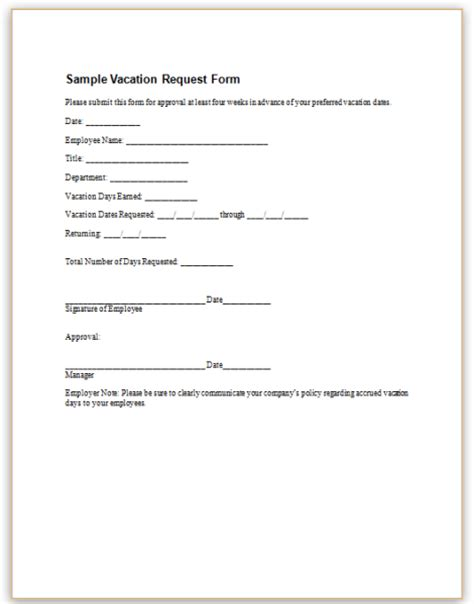 vacation request form template request form template pictures to pin on