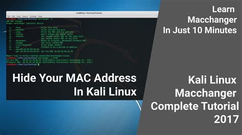 kali linux tutorial videos youtube playlist basics how to change mac address in kali linux 2017 1 complete