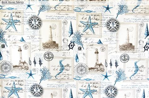 beach themed upholstery fabric nautical lighthouse fabric vintage postcard french writing