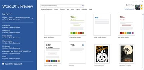 begin a new document by searching templates for cards starting from blank design templates in the word 2013