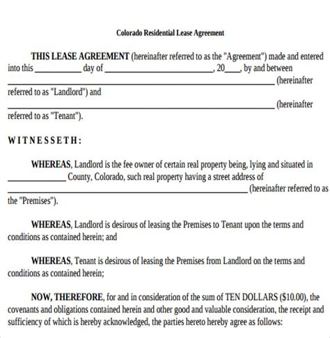 tenants lease agreements templates tenant lease agreement sles exles format 6