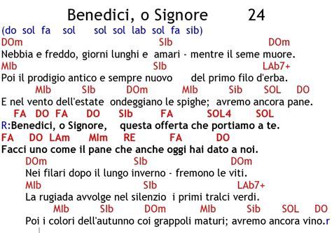 benedici o signore testo canti liturgici