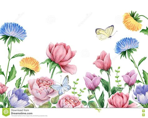flower garden with butterflies watercolor flowers and butterflies on white stock