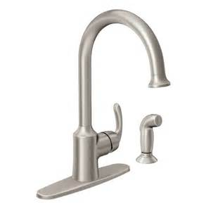 High Arc Kitchen Faucet Reviews Shop Moen Bayhill Spot Resist Stainless 1 Handle High Arc Kitchen Faucet With Side Spray At