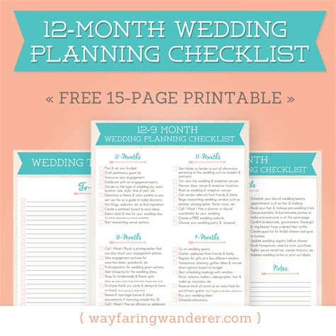 what should i be doing a 12 month wedding planning checklist