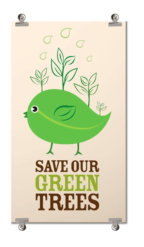 How To Make A Paper Poster - save our green trees liwangdesign