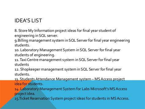 Mba Information System Management Project Topics by Sql Server Database Project Ideas Top And Best