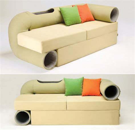 sofa cat spoiled couch with integrated habitrail for your cats
