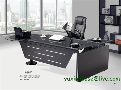 Hot Sale Tempered Glass Office Desk Boss Desk Table Office Desks On Sale