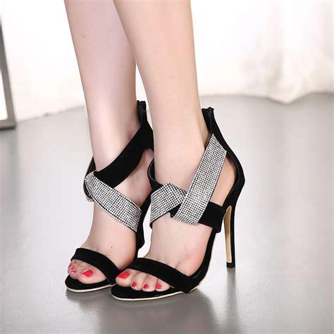 Open Heels Trendy Shh9773 trendy open toe rhinestone decorative stiletto high heel black pu sandals sandals shoes