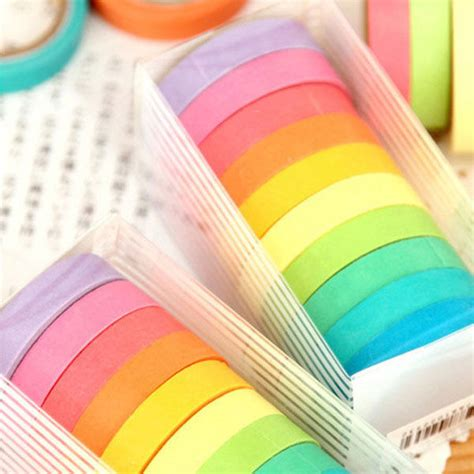 10 x rainbow washi masking scrapbook decorative paper