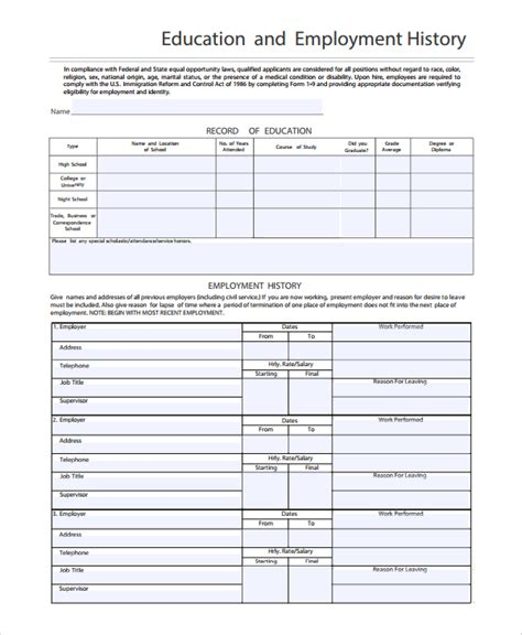 sle employment history template 9 free documents in word pdf