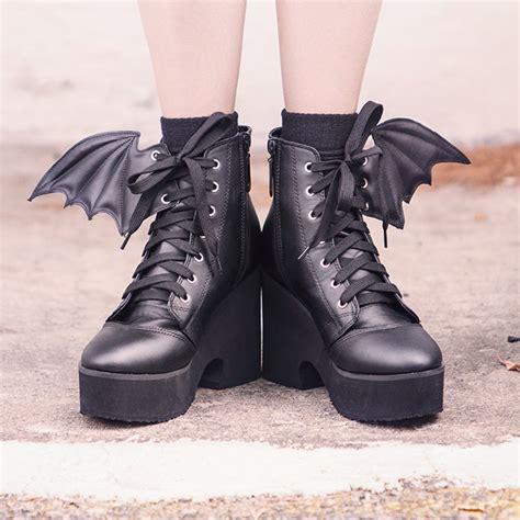 wing boot winged platform booties thinkgeek