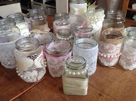 Decorating Ideas For Jam Jars Lace And Pearl Wedding Jam Jars Wedding Table Decor