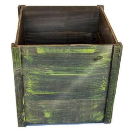 16 in green square wood planter box wp113 the home depot