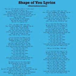 Song lyrics to Shape Of You and Castle On The    Ed's Wife.