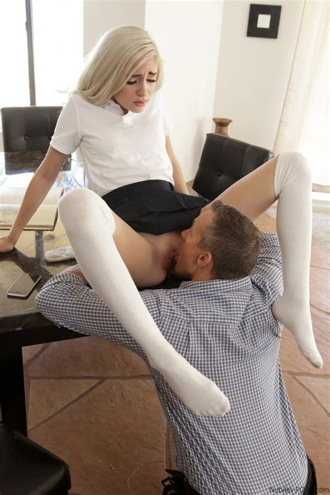 Blonde Schoolgirl Naomi Woods Takes A Big Cock Doggystyle Wearing Knee Socks
