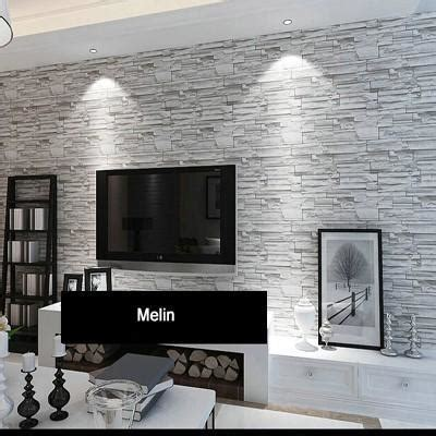 stacked brick  stone wallpaper modern wallcovering pvc