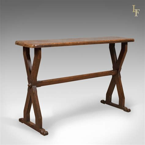 X Frame Console Table Antique Console Table Narrow X Frame Oak Overtones Antiques