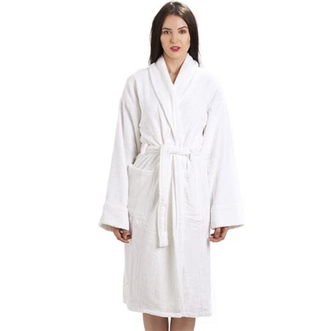 bathroom robes womens white towelling bath robe