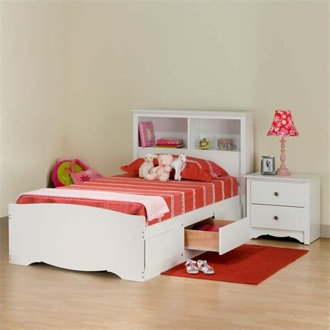 prepac monterey white wood platform storage bed 3 pc