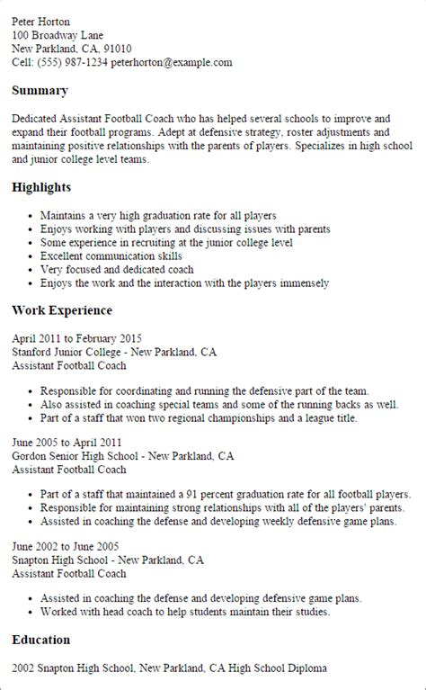 Assistant Coach Sle Resume by Professional Assistant Football Coach Templates To Showcase Your Talent Myperfectresume
