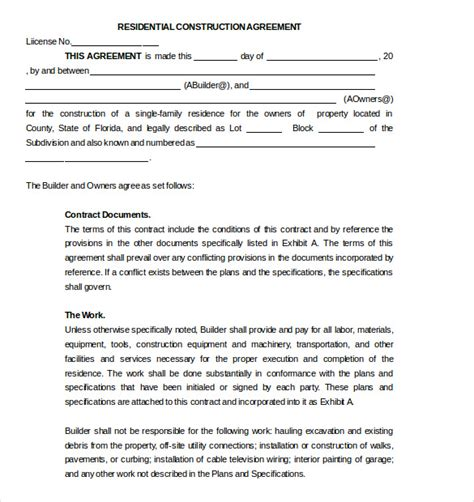 subcontractor agreement template 16 free word pdf