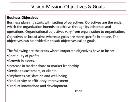 mission statement objectives vision mission objectives goals