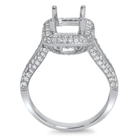 rounded square halo engagement ring for 2 ct center