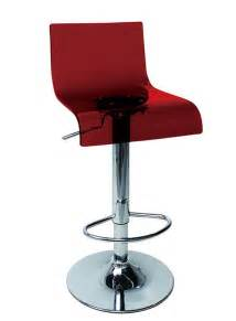 Red or clear plastic contemporary bar stools metal base and footrest