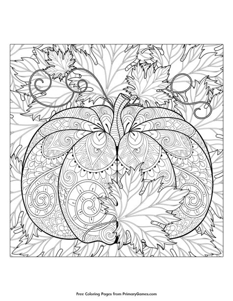 detailed pumpkin coloring page fall coloring page pumpkin and leaves fall coloring