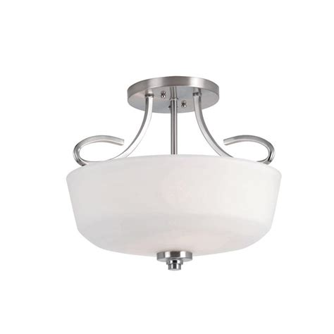 Semi Flush Mount Ceiling Light Brushed Nickel Bel Air Lighting Stewart 2 Light Brushed Nickel Incandescent Ceiling Semi Flush Mount Light 9551