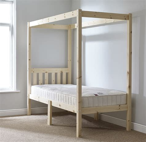 Four Poster Single Bed Frame Quattro 3ft Single Four Poster Solid Pine Bed Frame