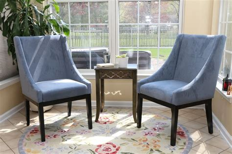 Dining Living Room Furniture Set Of 2 Modern Blue Arm Slipper Dining Sofa Chair Accent Living Room Furniture Ebay