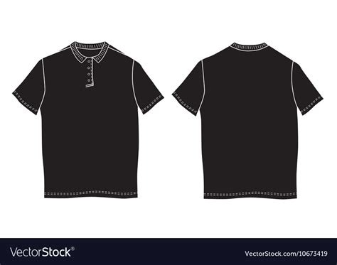 Polo Shirt Template Front And Back Views Vector Image Polo Shirt Template