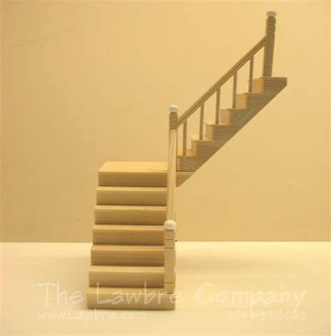 doll house stairs 1111 one landing staircase smooth spindle rail on