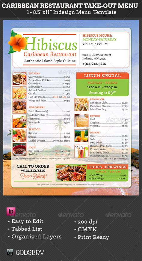 restaurant take out menu templates caribbean restaurant take out menu template by godserv